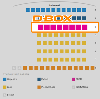 D-Box Motion Seats in Kino 2 im Cineplex Baunatal