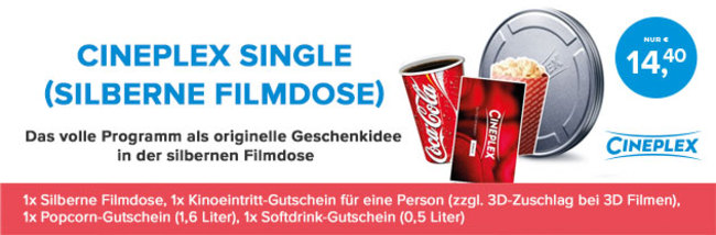 Kinogutschein - Cineplex Single-Filmdose